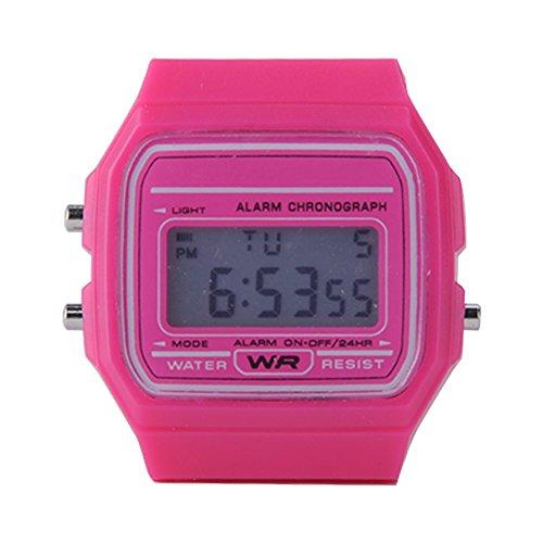 ATOZ Damen Mädchen Mode Gummi Silikon Band Digital Uhren Stoppuhr Armbanduhr (Rosa)