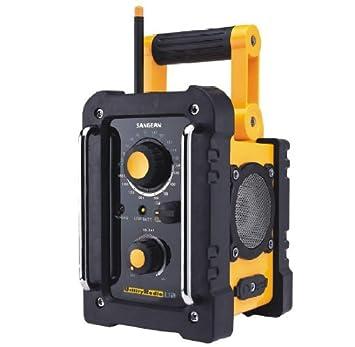 Sangean U-2 Radio stéréo utilitaire AM / FM Imperméable Antenne Haut-parleurs Ecouteurs Jaune / Noir