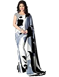 The Fashion Outlets Women's Printed Italian Crepe Saree With Unstiched Blouse Piece(Black And White)