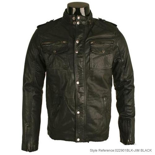 Mens Black Washed Real Leather Military Jacket L1T Size Large