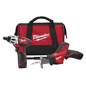 Milwaukee 2490-22 12-Volt Compact Drill and Hackzall Saw Combo Kit