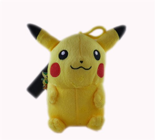 "Pokemon Black & White Pikachu Clip On 7"" Plush Doll - 1"