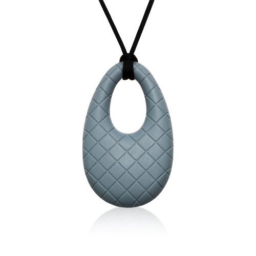 Siliconies Egg Pendant - Silicone Necklace (Teething/Nursing/Sensory) (Silver-Grey)