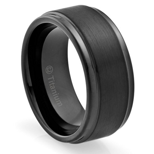 10MM Titanium Promise Engagement Rings for Men | Wedding Bands for Him | Black Plated and Brushed Top [Size 10.5] (Black Platinum Ring compare prices)