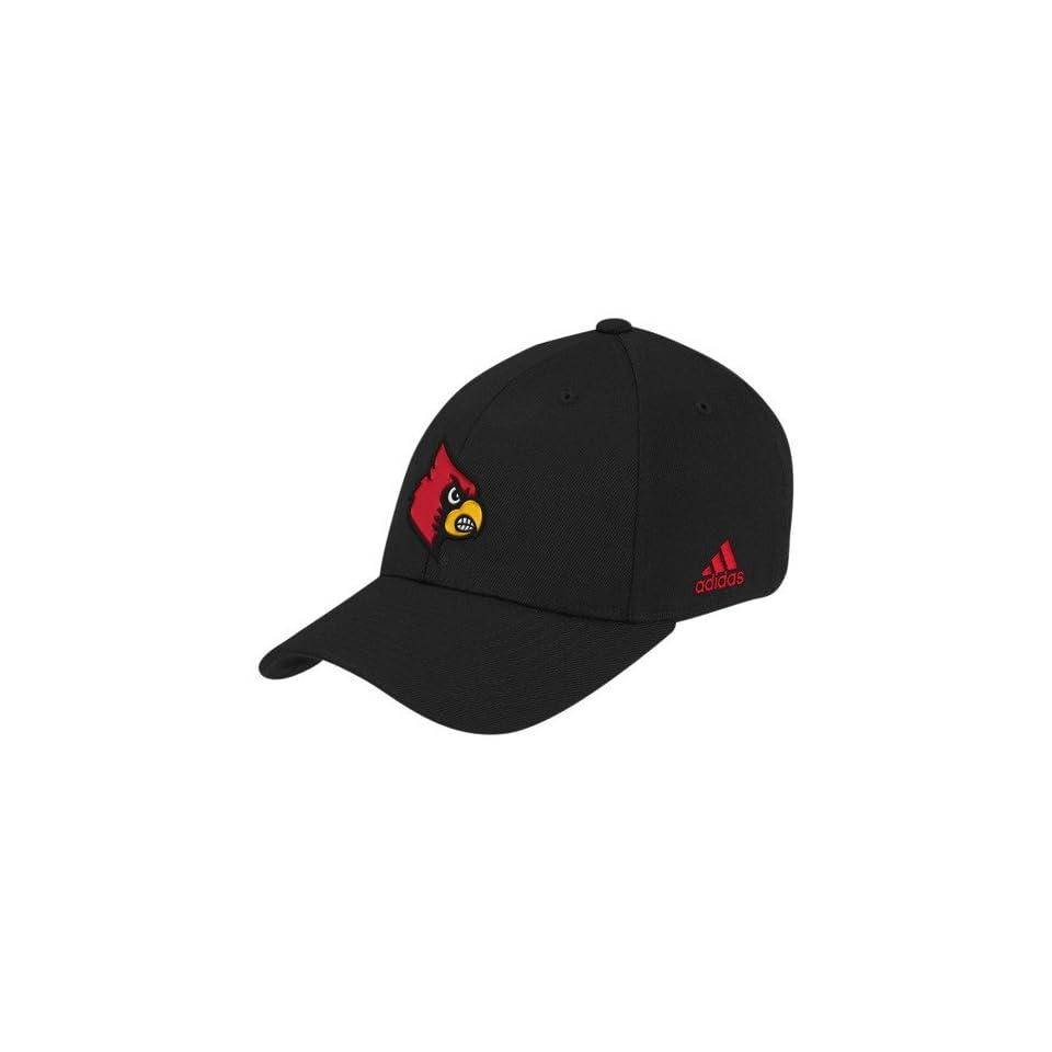 adidas Louisville Cardinals Black Basic Logo Flex Fit Hat (Small