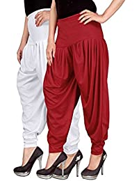 Navyataa Women's Lycra Dhoti Pants For Women Patiyala Dhoti Lycra Salwar Free Size (Pack Of 2) White & Red