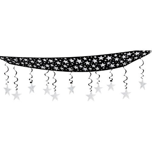 Beistle 1-Pack The Stars Are Out Ceiling Decor, 12 by 12-Feet, Silver