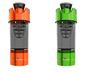 Cyclone Cup Shaker Bottle 20oz - Set of 2 - Orange and Green by Cyclone Cup
