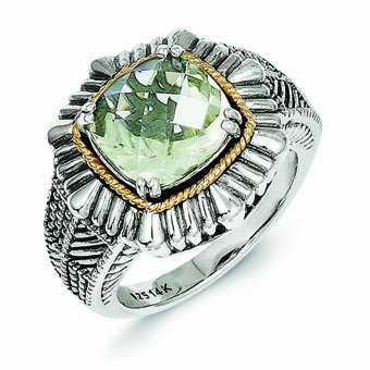Sterling Silver with 14k Gold Green Quartz Ring - (Size 6)