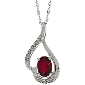 c6231ee02ceec 14k White Gold Natural Enhanced Ruby Necklace 1.24 ct 7x5 Oval 0.07 ct  Diamond 18 inch