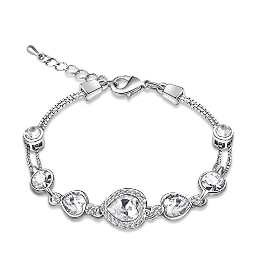 Women Heart Shaped Swarovski Elements Crystal Tennis Bracelet Jewelry for Birthday Wedding Anniversary Gift, 6.5