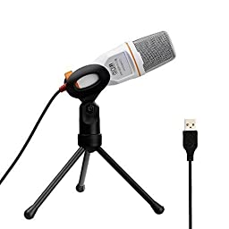 Tonor USB Professional Condenser Sound Podcast Studio Microphone for PC Laptop Computer Apple Mac Upgraded Version - Plug and play, White