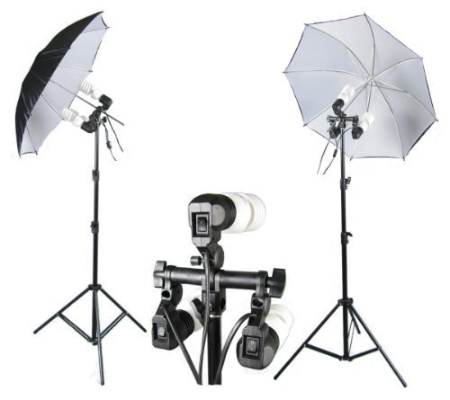 PhotoGeeks CUKBW2 Continuous Lighting Photography Kit / 2 x 83cm Diameter Umbrella's / 6 x 45w Fluorescent 5500k Light Bulbs / 2 x 2.2m Stands