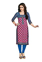 CHINTAN TEXTILES Ethnicwear Women's Unstitched Kurti Fabric Pink Free Size