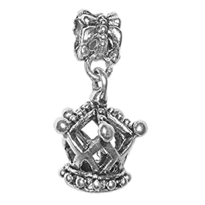 Pendant, Pandora Style Silver Queen Crown Charm + FREE CHAIN + FREE GIFT BAG