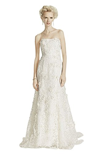 Lace Oleg Cassini Subtle Pink 3D Floral Wedding Dress Style CWG464, Ivory, 16