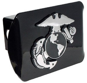 "United States US Marine Corps USMC ""Black with Chrome ""EGA"" Emblem"" Metal Trailer Hitch Cover Fits 2 Inch Auto Car Truck Receiver"