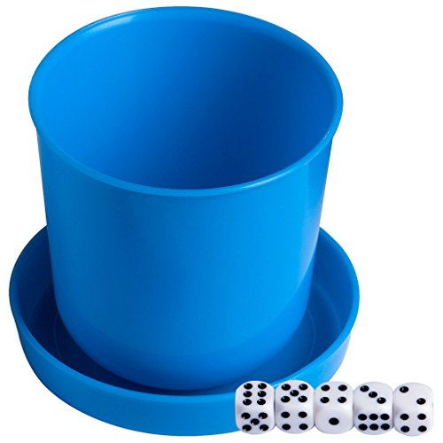 Magic Vosom Plastic Dice Cup with Lid and 5 Dice for KTV Party and Bar Blue