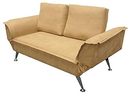 6.6.5.6.2776: modernes Sofa mit abklappbaren Armlehnen - Gästesofa - als Schlafsofa nutzbar - Jugend-Kinder-Sofa - Bezug beige
