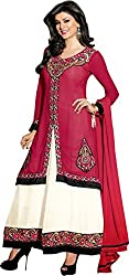 Shayona Enterprise Women's Brocade & Georgette Unstitched Dress Material (araa11001_Pink_Free Size)