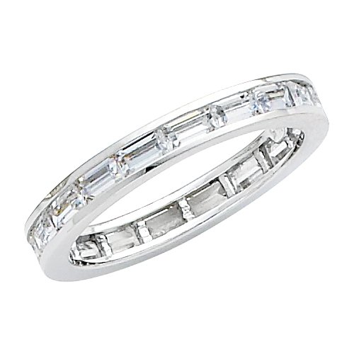 14K White Gold Channel set Baguette shape CZ Cubic Zirconia Eternity Ring Band - size 5