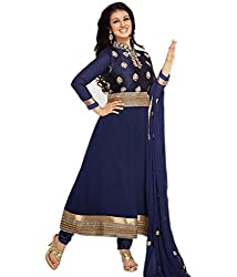 Decent World Blue Georgette Exclusive Dress Material