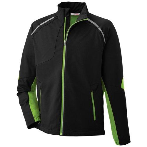 Ash City Mens Dynamo Hybrid Performance Soft Shell Jacket  Black Acid Green/Black Silk