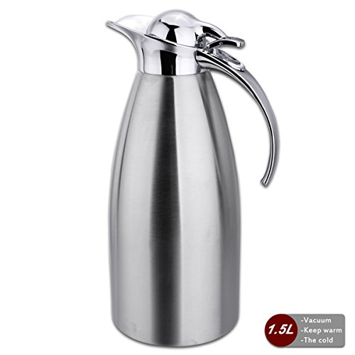Coffee Pot 1.5L Double Wall Vacuum Insulated Stainless Steel Hot and Cold 24 hours-JUNING Coffee Thermal Carafes Tea/Water Pitcher Silver (Water Pitcher Silver compare prices)