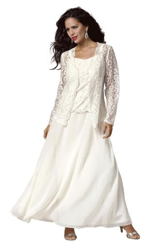 Roamans Plus Size Lace And Chiffon Jacket Dress Ivory24 W Big