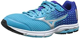 Mizuno Wave Rider 18 Junior Kids Running Shoe (Little Kid/Big Kid), Blue Atoll/Silver, 4 M US Big Kid