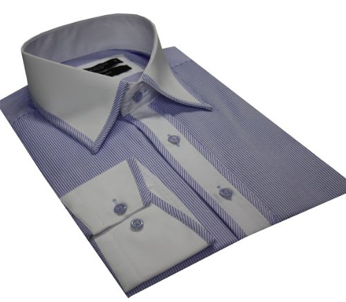 Italian Design Men's High Collar Formal Casual Shirt Contrast Collar Sky