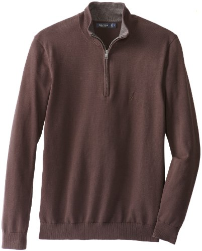 Nautica Men's Big-Tall Zip Neck Solid Sweater