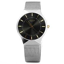 Watchpl Thin Quartz Watch elegant Wristwatch Stylish Mesh Wrist Watch(Black)