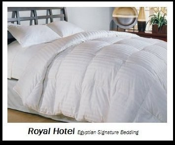 Royal Hotel'S Queen Size Down-Comforter 650-Fill-Power 100 % Egyptian-Cotton Shell 300Tc - Stripe White