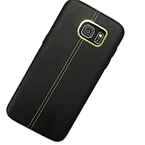 Kapa Stitched Leather Back Case Cover for Samsung Galaxy S7 Edge - Black