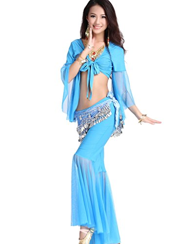 Professional Belly Dance Costume, Tribal Wrap Top And Skirt Set