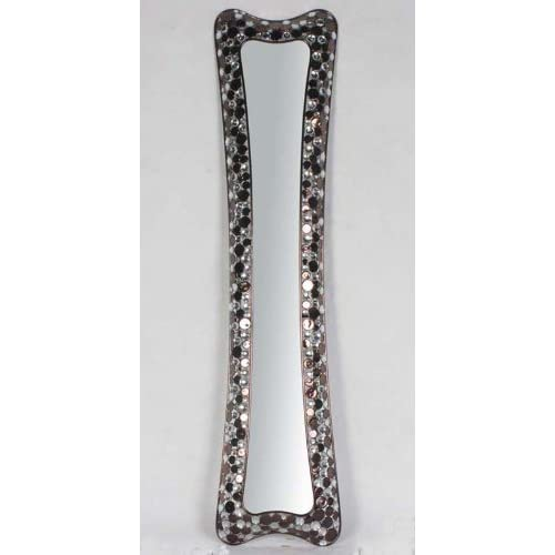 Shiny decorative metallic framed long narrow for Long wall hanging mirrors