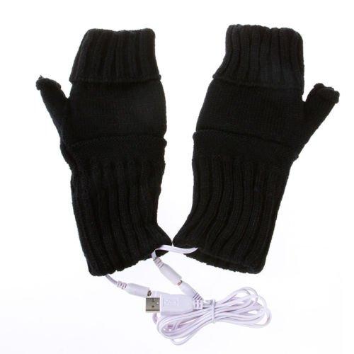 Usb Hands Warmer Electric Heating Fingerless Gloves Black