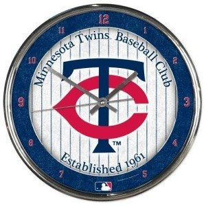 Minnesota Twins Round Chrome Wall Clock by Hall of Fame Memorabilia