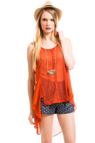 Dramatic Panel Tank Top in Burnt Orange