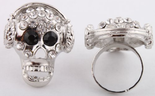 Ladies Silver Iced Out Skull with Headphones Adjustable Finger Ring