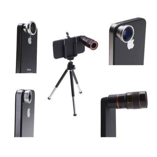AGPtek® 4 in 1 Camera Lens Kit for Apple iPhone 4 (8X Black Telephoto Lens, Fish Eye Lens, Wide Angle + Micro Lens) Plus Tripod and Hard Case