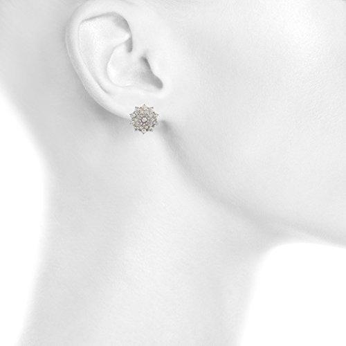 Lux Crystal Bridal Accessories Pave-Orecchini a lobo a forma di stella, motivo floreale