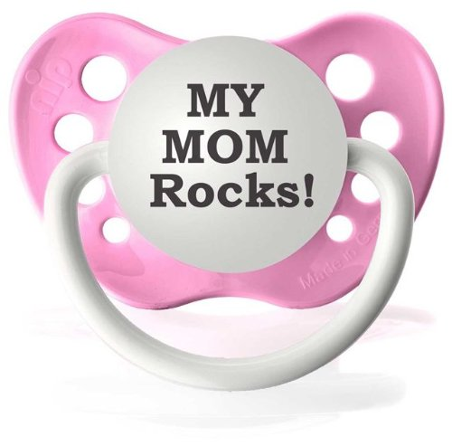 Personalized Pacifiers My Mom Rocks Pacifier in Pink
