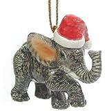 ELEPHANT Baby w/SANTA HAT Christmas Ornament Figurine MINIATURE Porcelain NORTHERN ROSE New R304