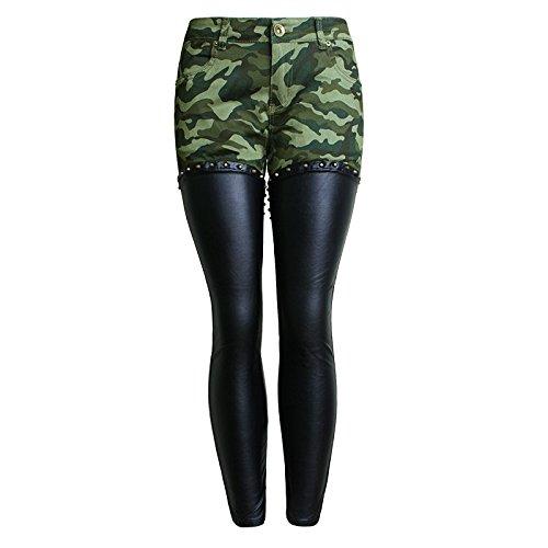 Fengyi Camuffamento Splicing Pu pelle Pantaloni bambini autunno paragrafo rivetti cerniera pantaloni pantaloni Slim piedi , green camouflage , xl