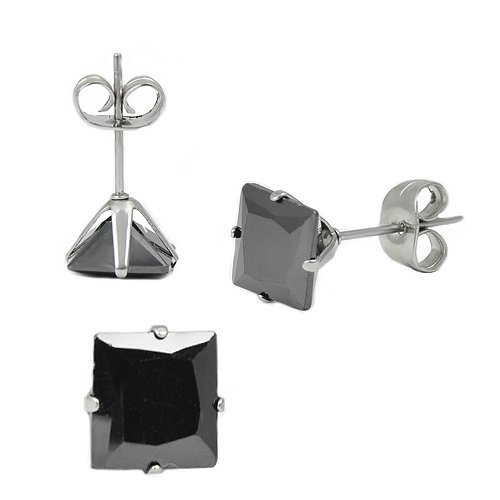 Stainless Steel Ear Studs with Black Square Zirconia 5mm (Pair)