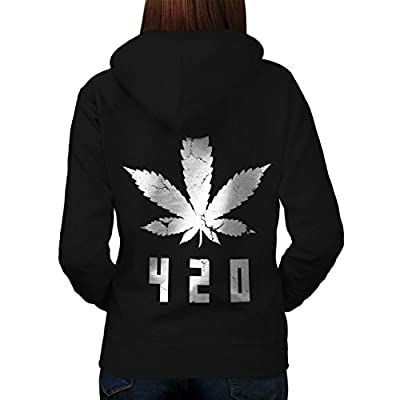 White Cannabis Leaf Weed Plant Women NEW Black S-2XL Hoodie Back | Wellcoda
