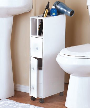 White Bathroom Space Saver Cabinet with Wheels