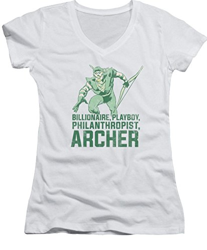 DC Green Arrow Archer Ladies Junior Fit V-Neck T-Shirt